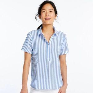 L.L Bean Textured Popover Stripe Collar Shirt